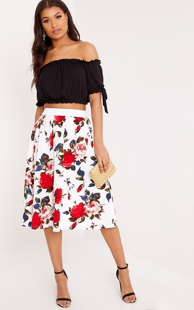 Anitta Cream Floral A Line Midi Skirt 1
