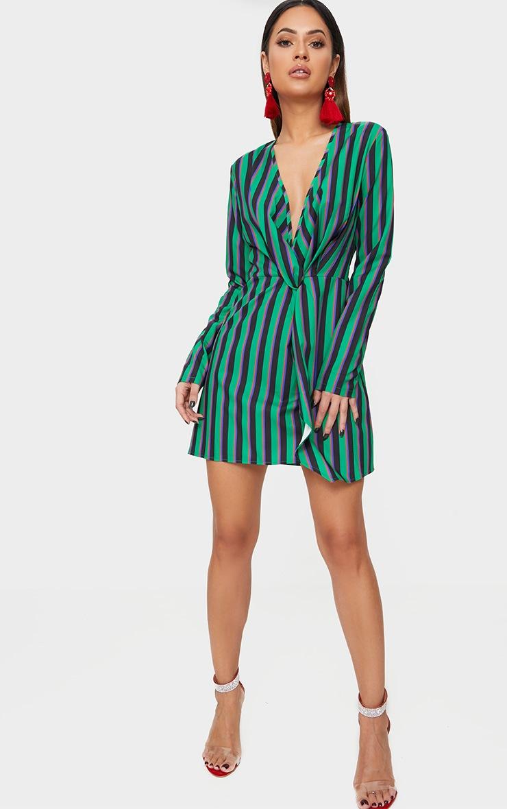 Green Stripe Print Satin Long Sleeve Wrap Dress 4
