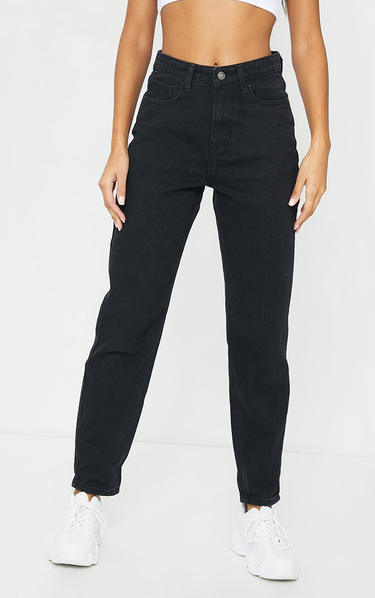PRETTYLITTLETHING Washed Black Mom Jean 2