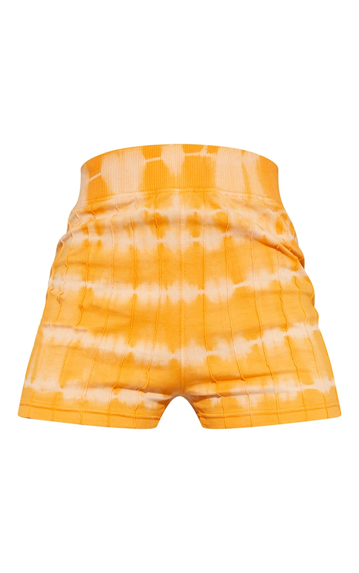 Orange Tie Dye Print Seam Detail Hot Pants 6