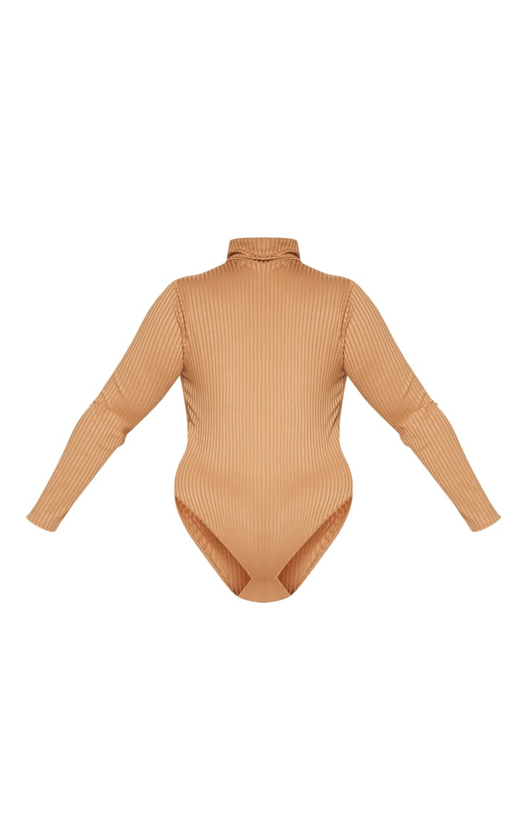 Plus Camel Rib Roll Neck Long Sleeve Bodysuit 4