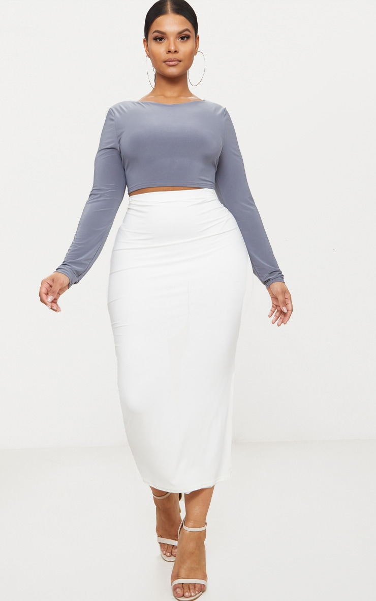 Plus Charcoal Grey Second Skin Long Sleeve Wide Neck Crop Top 3