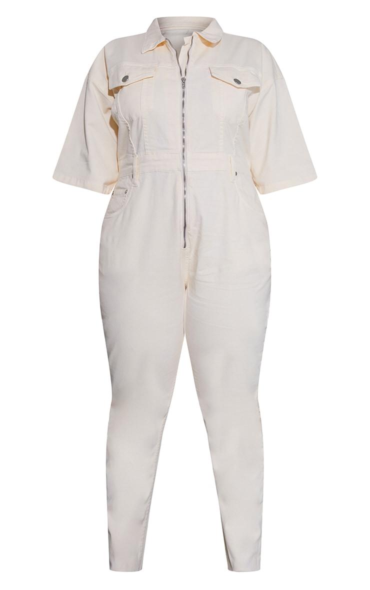 Plus Ecru Short Sleeve Zip Up Denim Jumpsuit 5