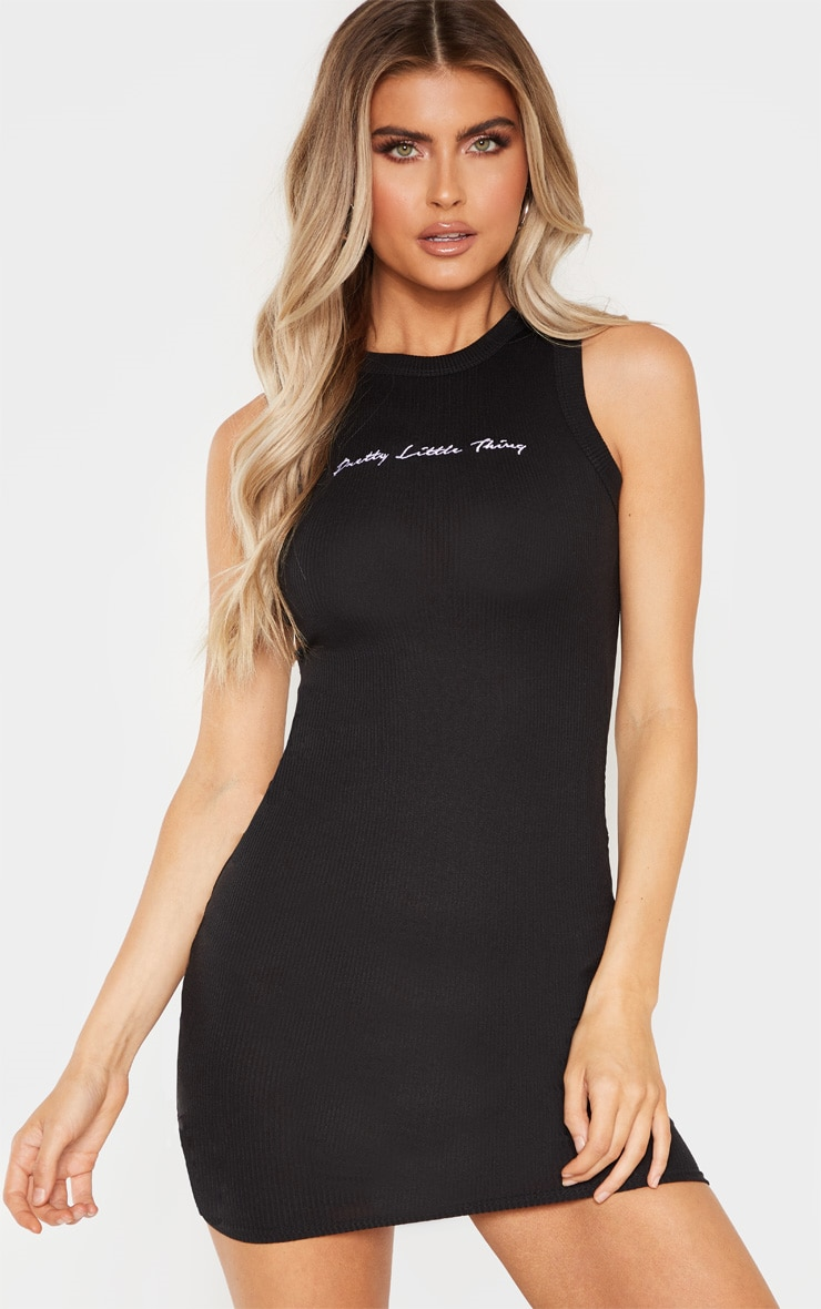 PRETTYLITTLETHING Tall Black Embroidered Sleeveless Bodycon Dress 1