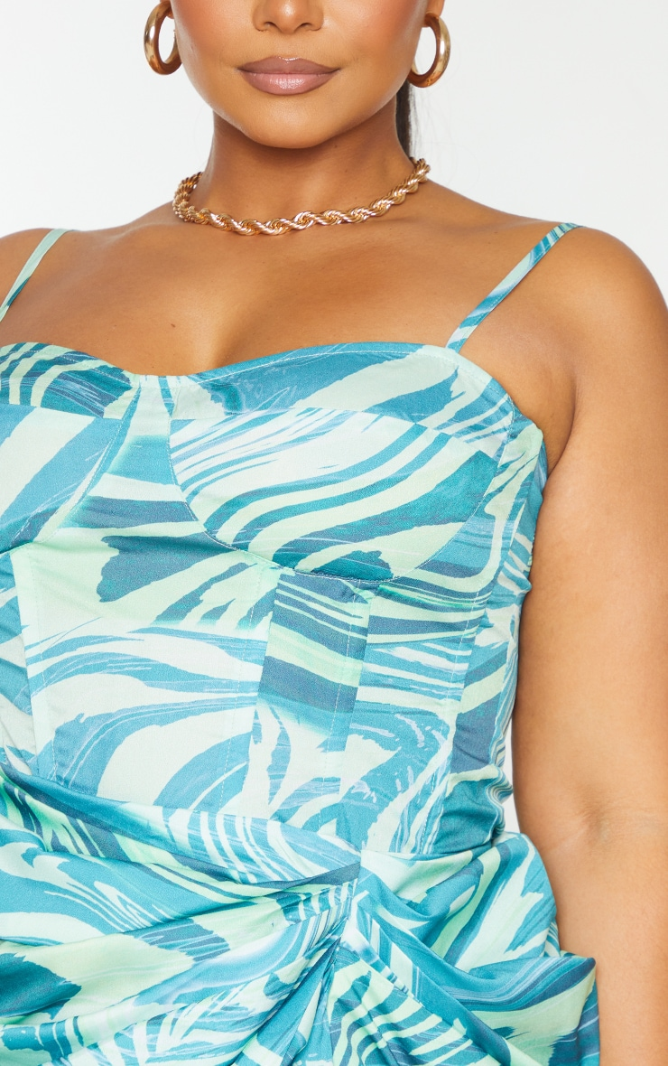 Plus Blue Abstract Print Structured Corset Top 4