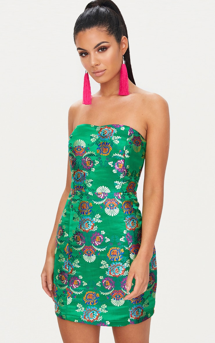 Bright Green Oriental Satin Bandeau Bodycon Dress  1