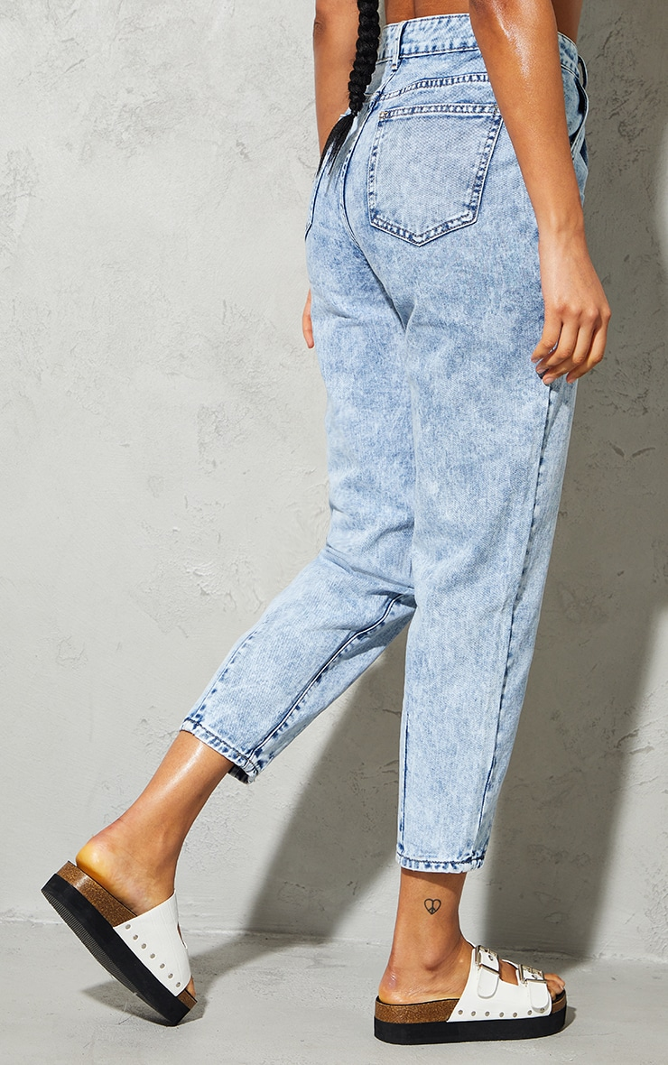Acid Blue Wash Seam Detail Mom Jeans 3