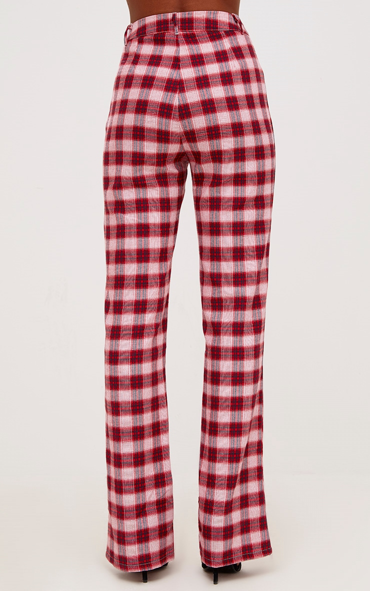 Red Check High Waisted Trousers 3