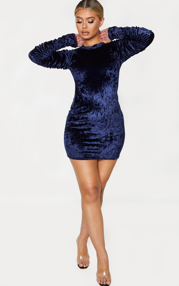 Navy Velvet Ruched Sleeve High Neck Bodycon Dress 4