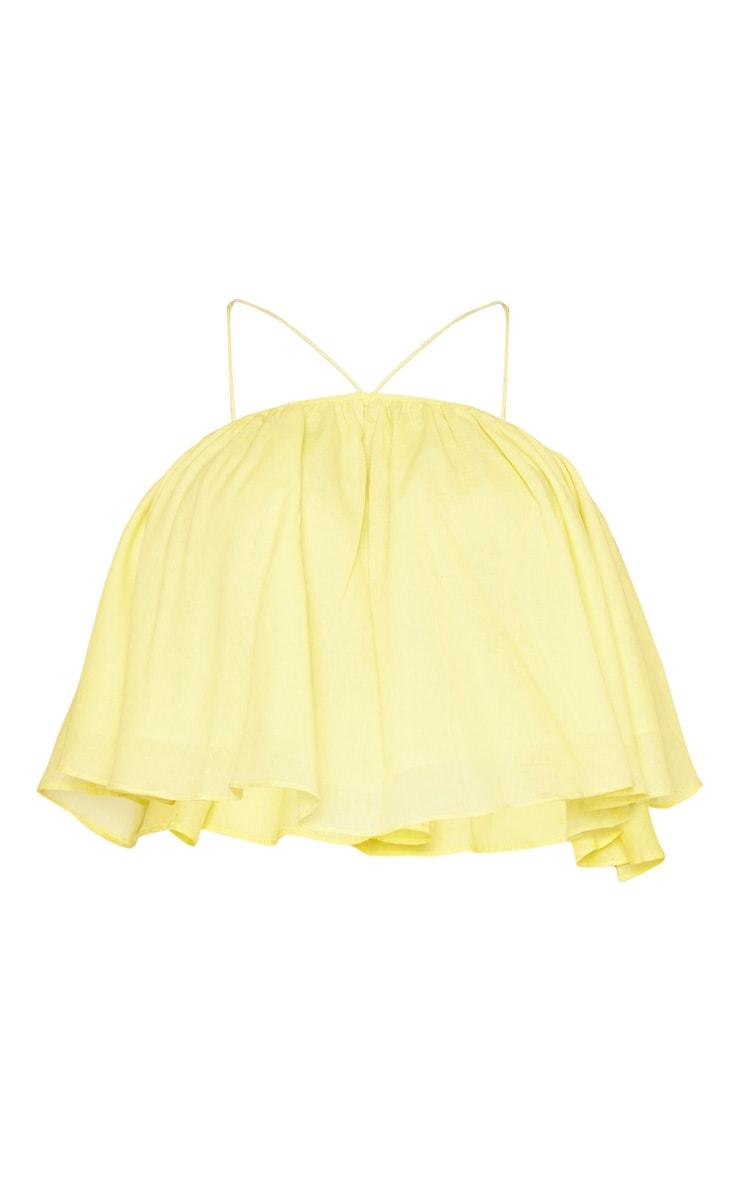 Plus Lemon Yellow Woven Strappy Floaty Crop Top 3