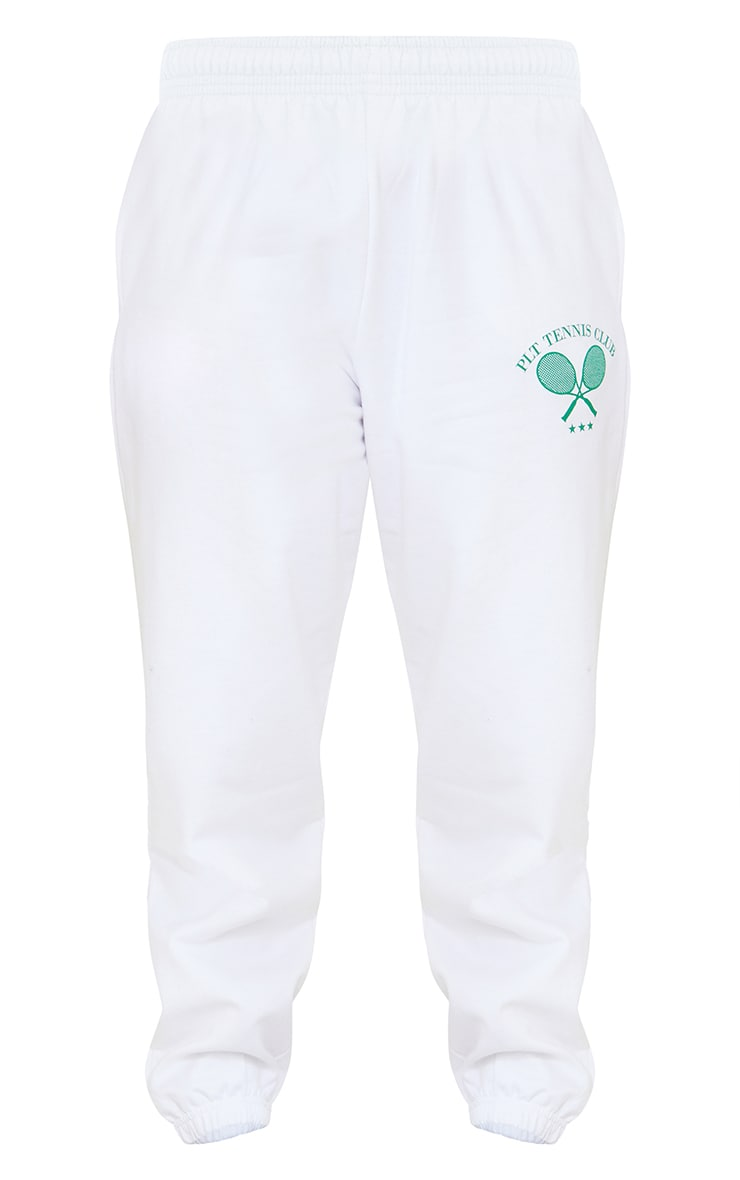 PRETTYLITTLETHING Petite White Tennis Club Oversized Joggers 5
