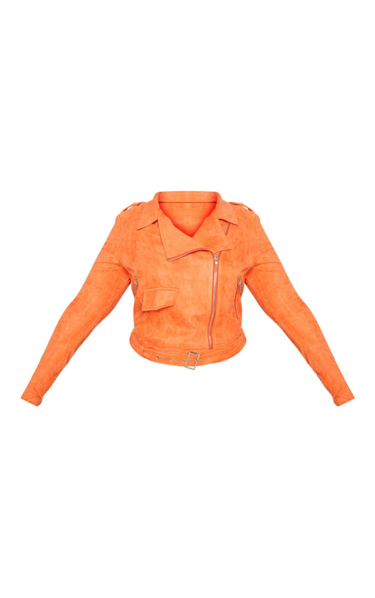 Plus Orange Faux Suede Biker Jacket 3