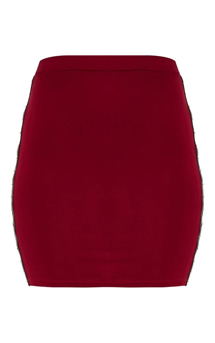 Maroon Chain Split Mini Skirt  3
