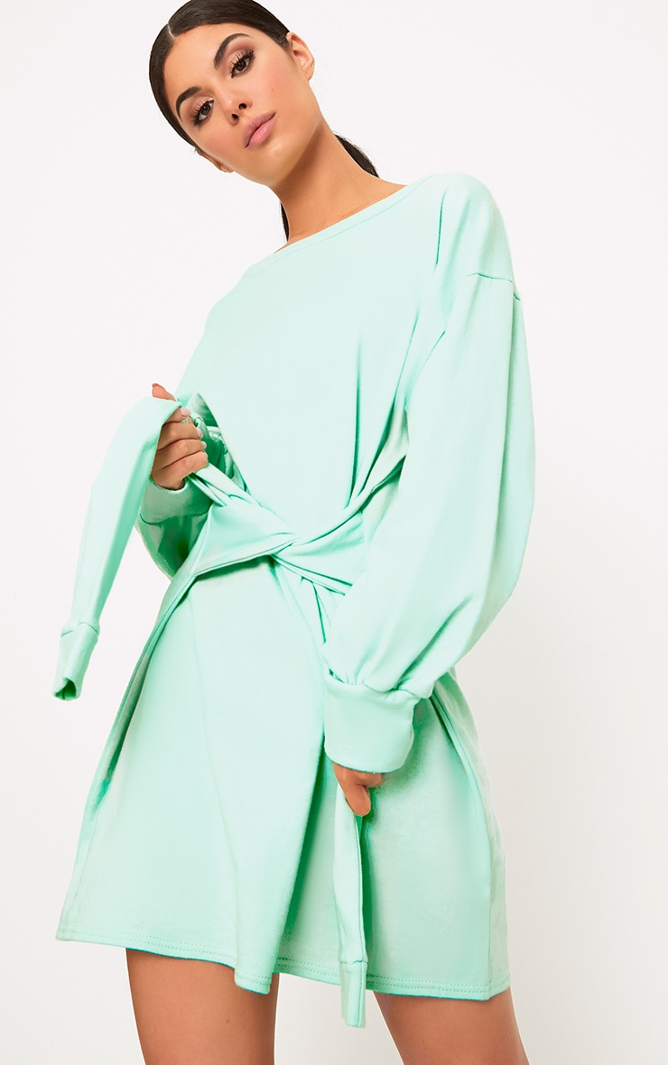 Kareena Mint Tie Waist Sweater Dress 1