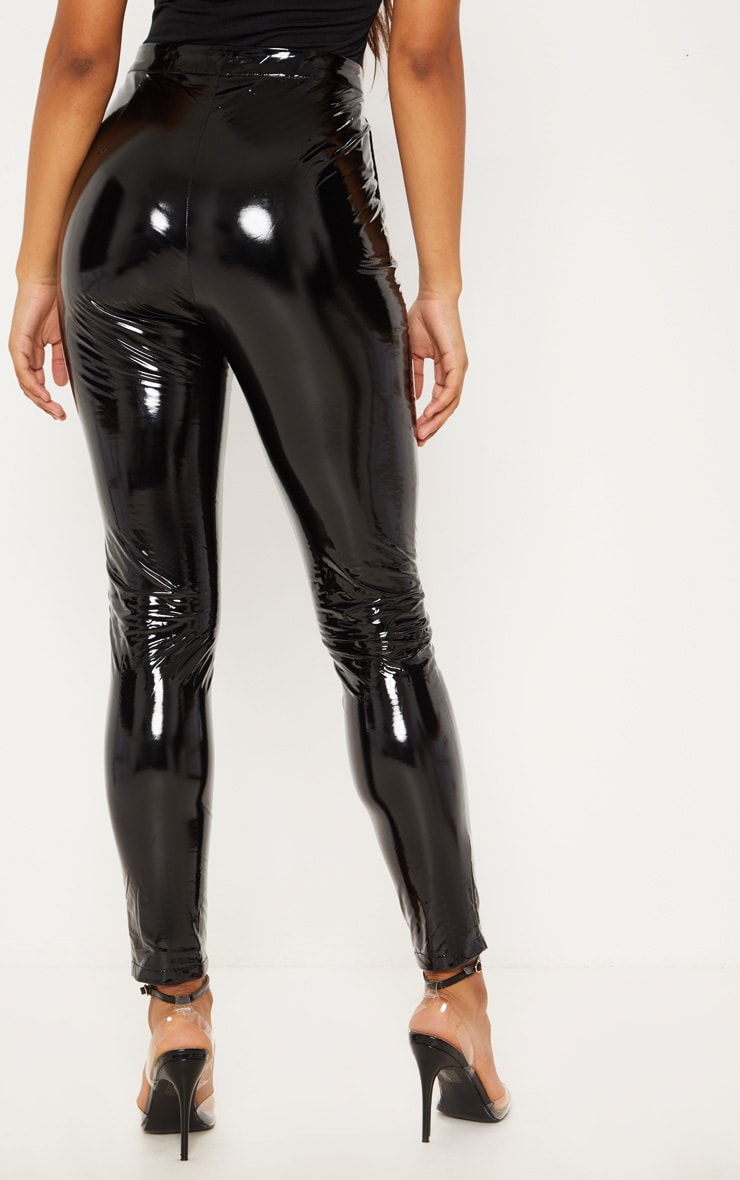 Tall Black Vinyl Slim Leg Trouser 4