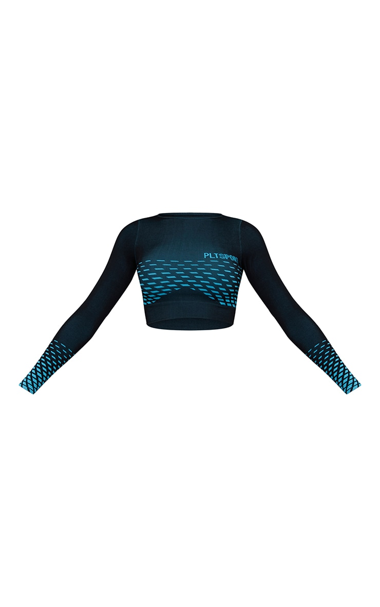 Black Gradient Detail Seamless Long Sleeve Cropped Sports Top 5