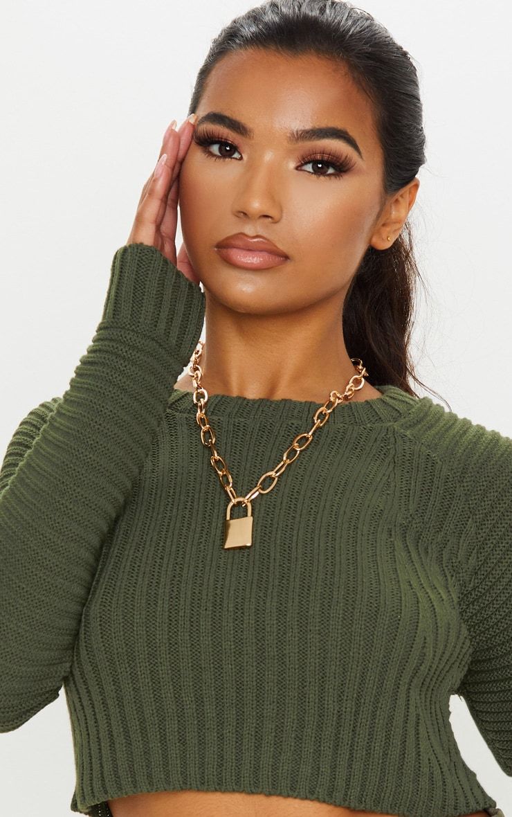 Khaki Cropped Rib Knit Jumper 5