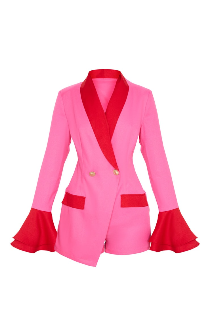 Pink Contrast Frill Sleeve Blazer Playsuit 3