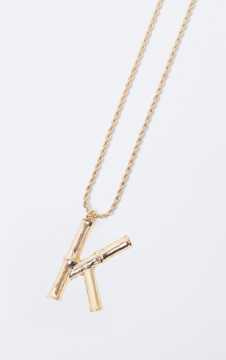 Gold K Bamboo Letter Necklace 3