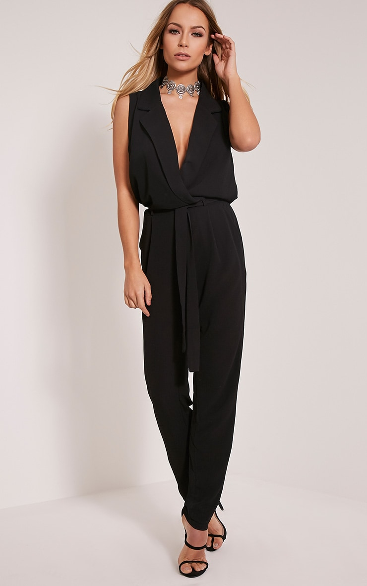 Marsa Black Sleeveless Wrap Jumpsuit 1