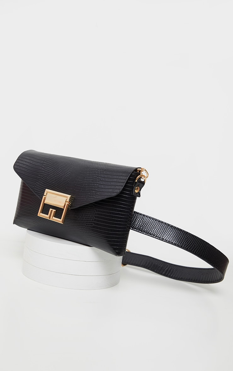 Black Snake PU Gold Trim Multi Wear Belt and Cross Body Bag            3