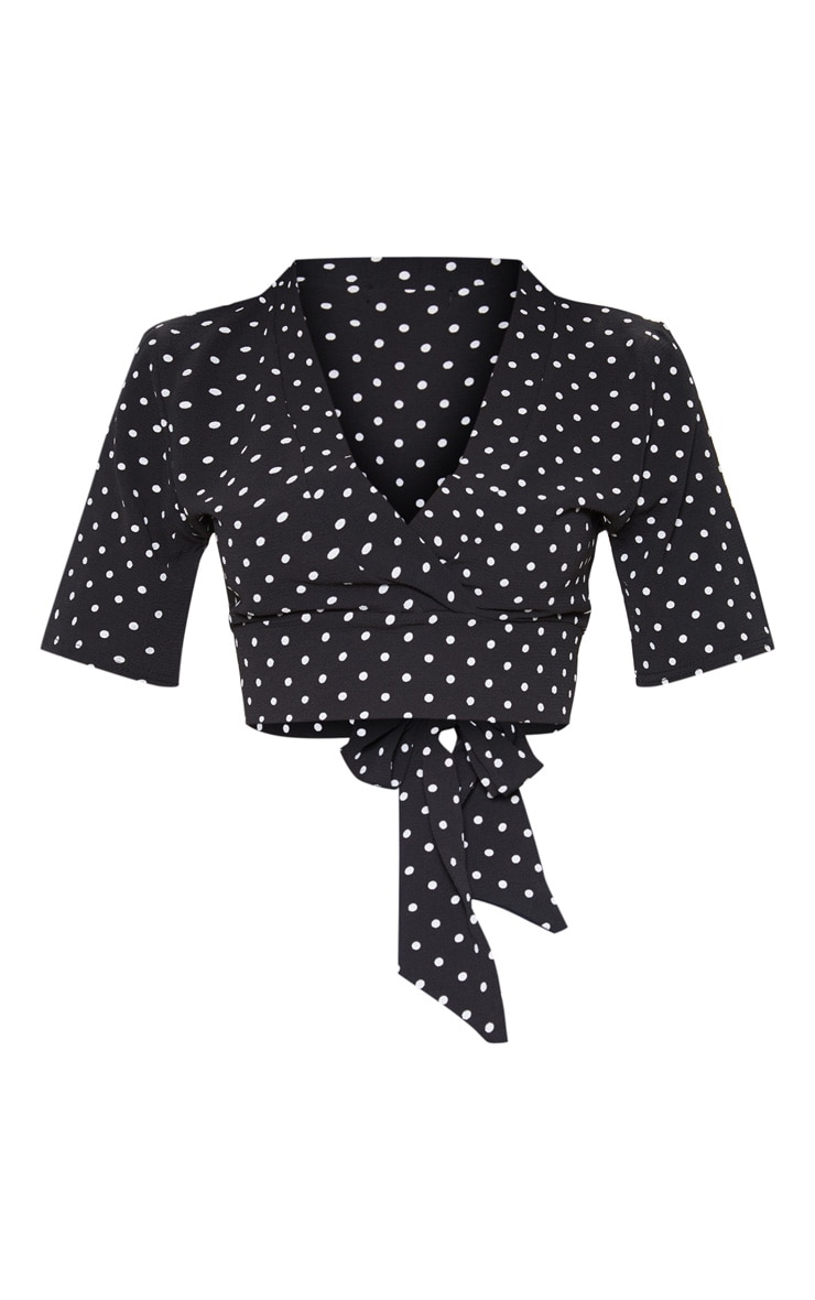 Black Polka Dot Printed Crepe Wrap Crop Blouse 3