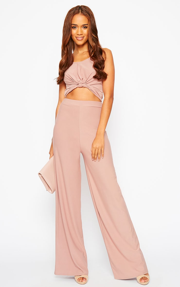 Zuri Dusty Pink Crepe Sleeveless Knot Front Crop Top 3