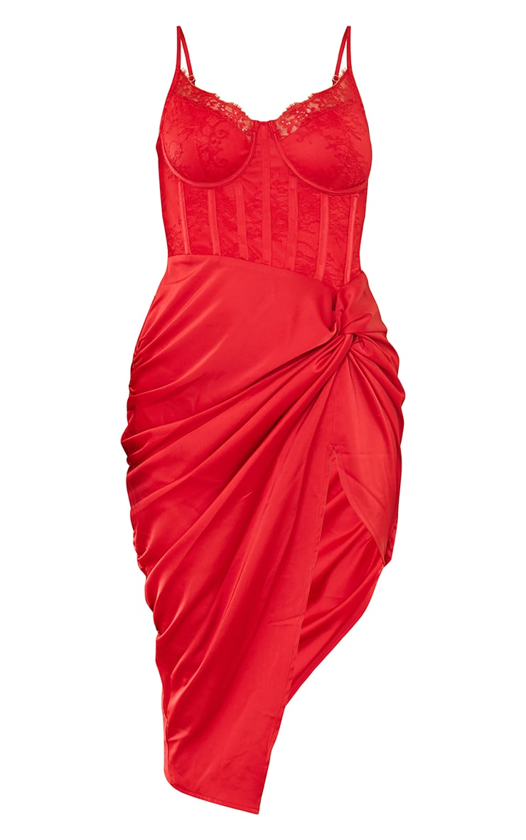 Red Strappy Lace Insert Satin Gathered Midi Dress 5