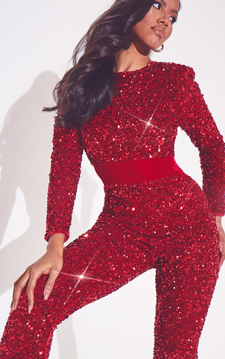 Red Premium Velvet Sequin Shoulder Pad Jumpsuit 4