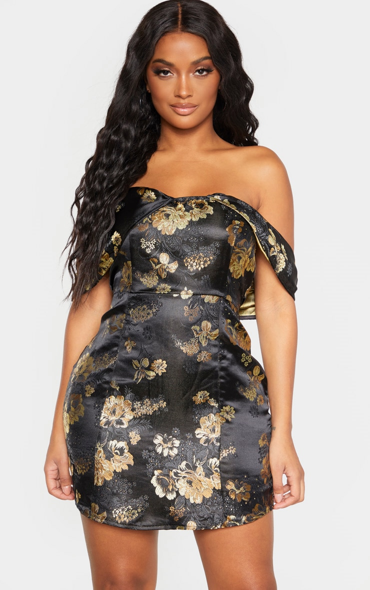 SHAPE BLACK ORIENTAL BARDOT BODYCON DRESS