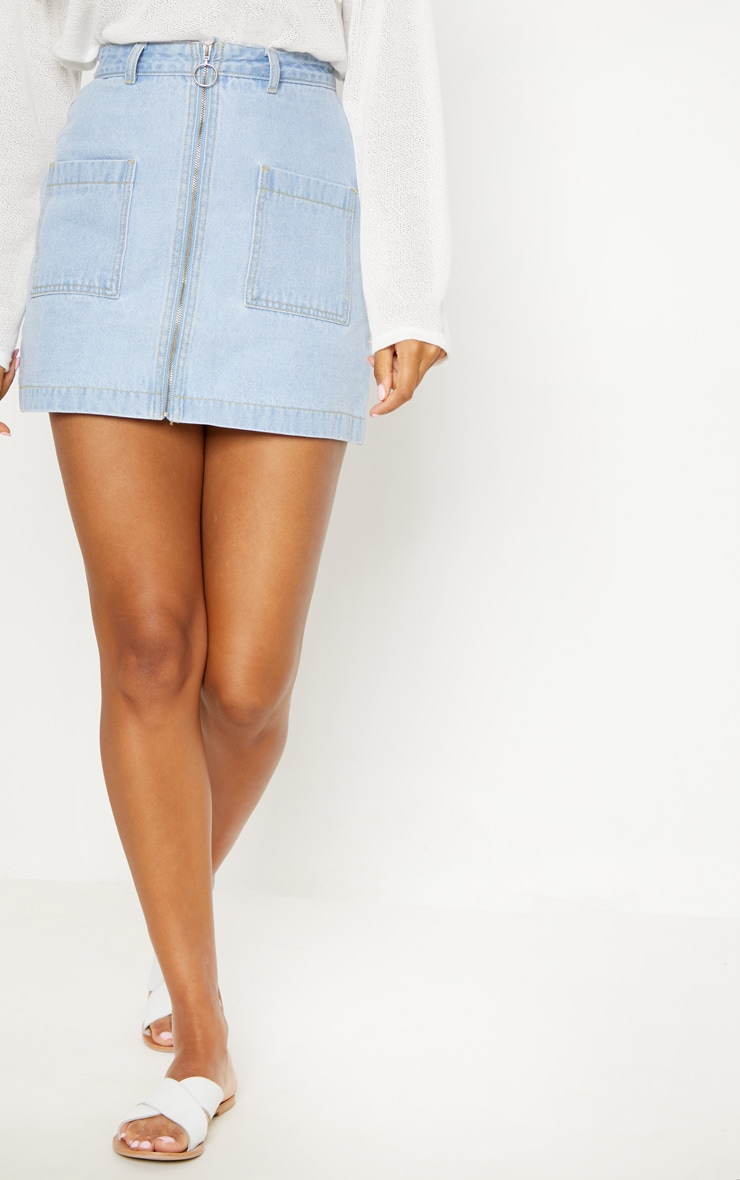 Light Wash Front Zip Denim Skirt  2