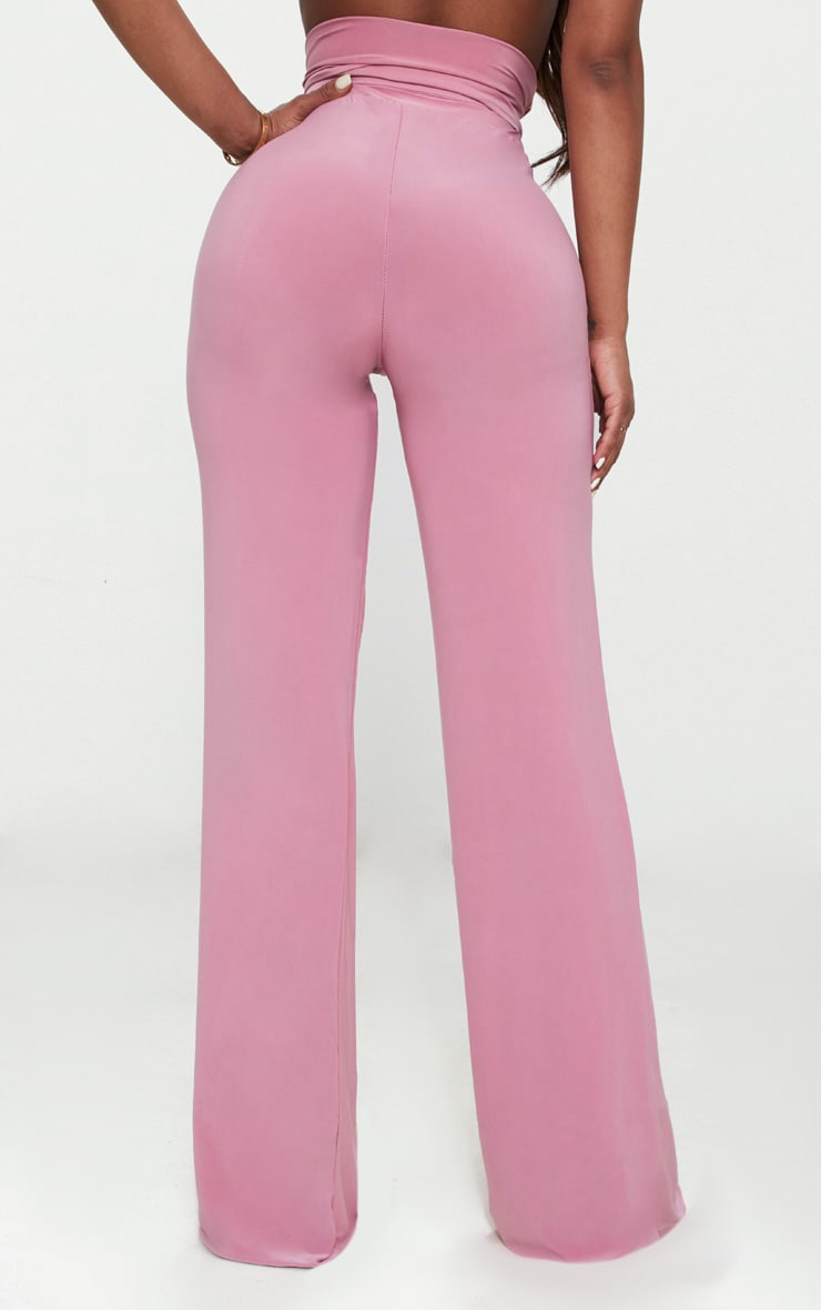 Shape Rose Slinky Extreme High Waist Detail Wide Leg Trousers 4