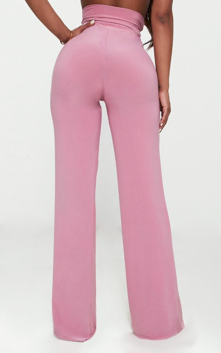 Shape - Pantalon moulant à jambes évasées et taille trés haute détail ceinture rose 4