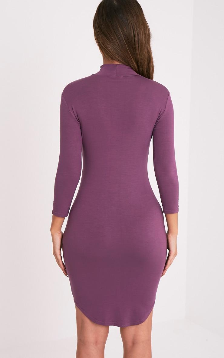 Alby Aubergine 3/4  Sleeve Curve Hem Bodycon Dress 2