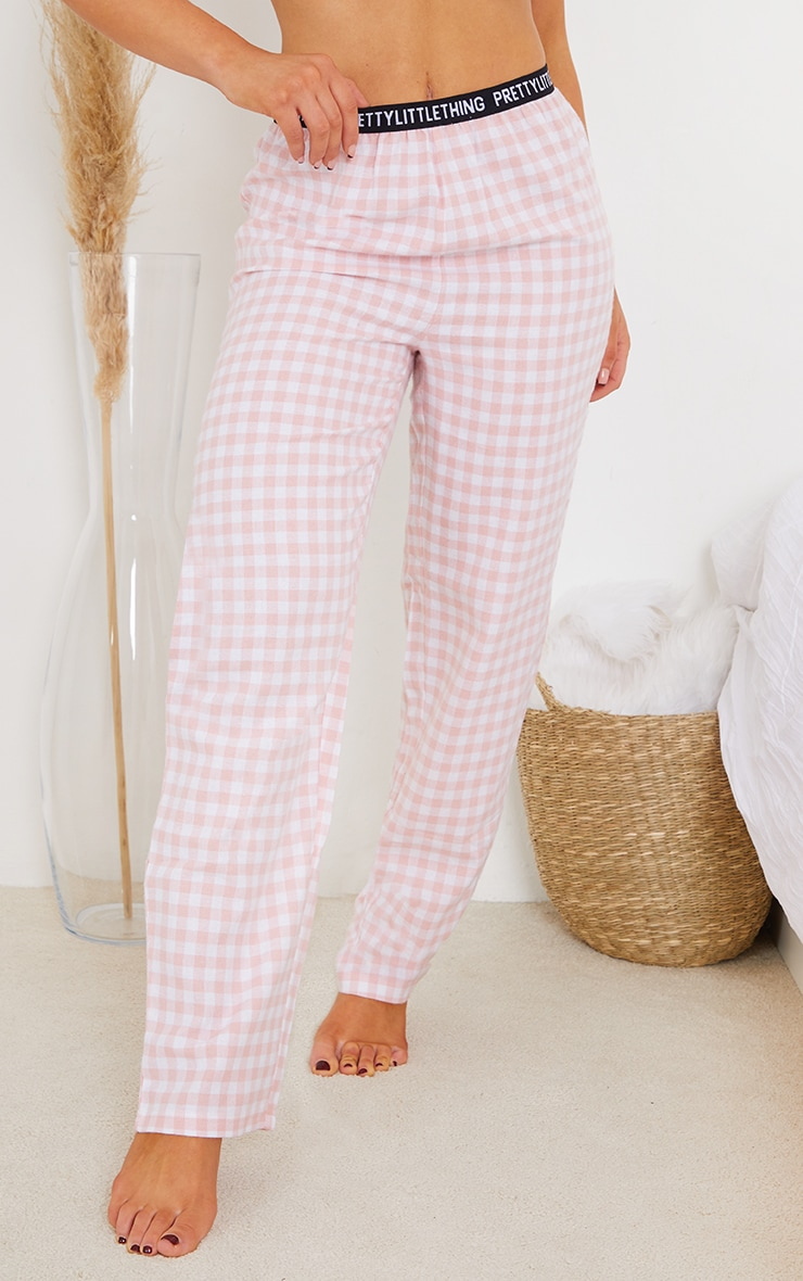 PRETTYLITTLETHING Pale Pink Taping Detail Mix And Match Check PJ Trousers 2