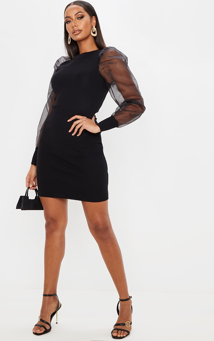 Black Organza Puff Sleeve Dress 4