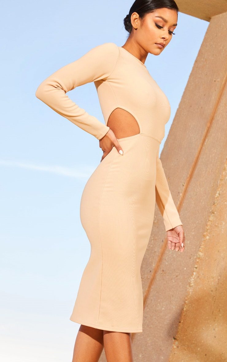 Nude Second Skin Cut Out Side Midi Dress 5
