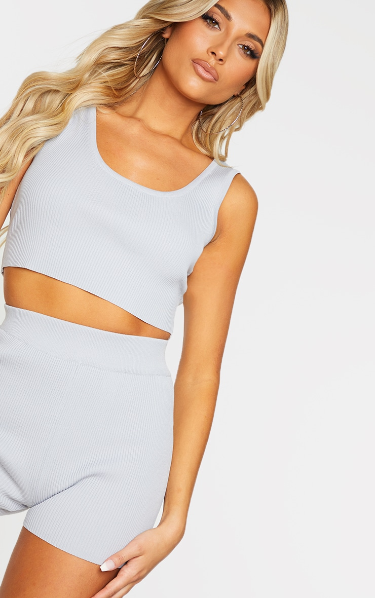Grey Ribbed Scoop Back Knitted Top 4