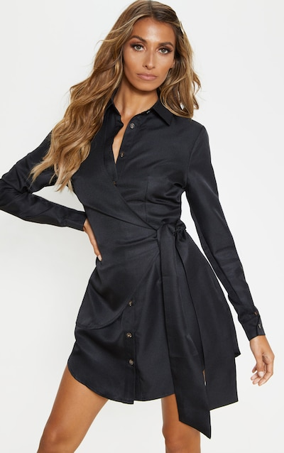 Black Tortoise Button Wrap Tie Shirt Dress