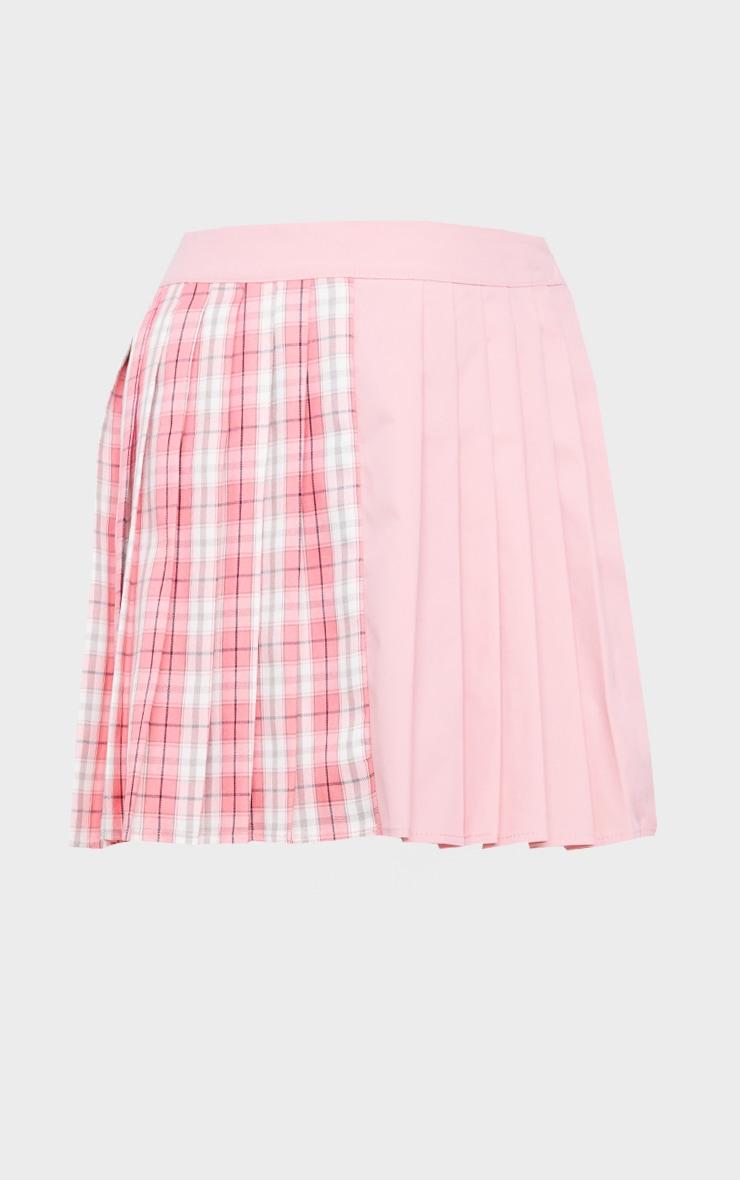 Pink Check Woven Pleated Skater Skirt 6