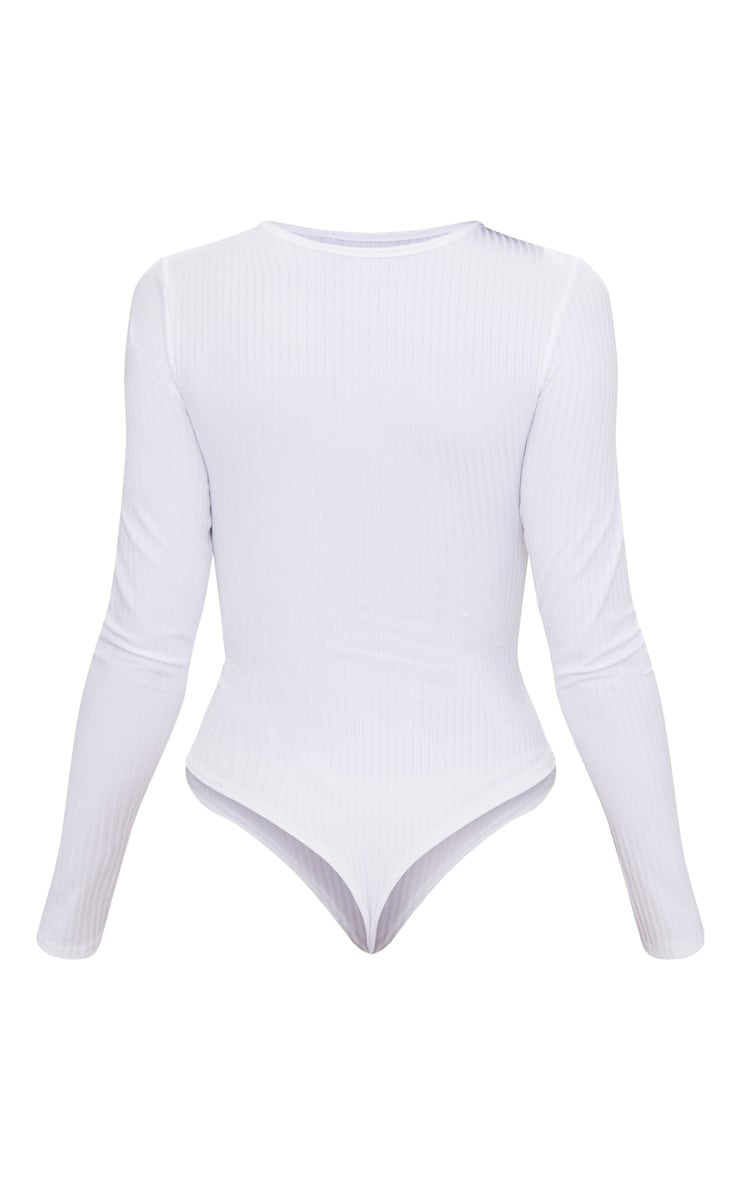 White Rib Cut Out Front Long Sleeve Thong Bodysuit 4
