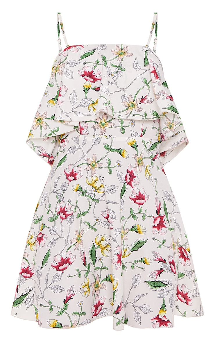 Cream Floral Print Strappy Layered Skater Dress 3