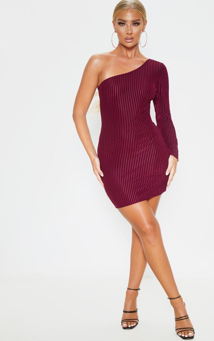 Burgundy Velvet Rib One Shoulder Bodycon Dress 4