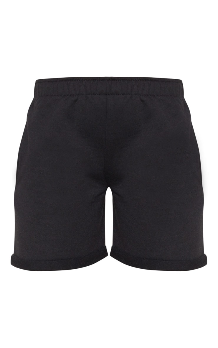 Black Turn Up Longline Sweat Short 3