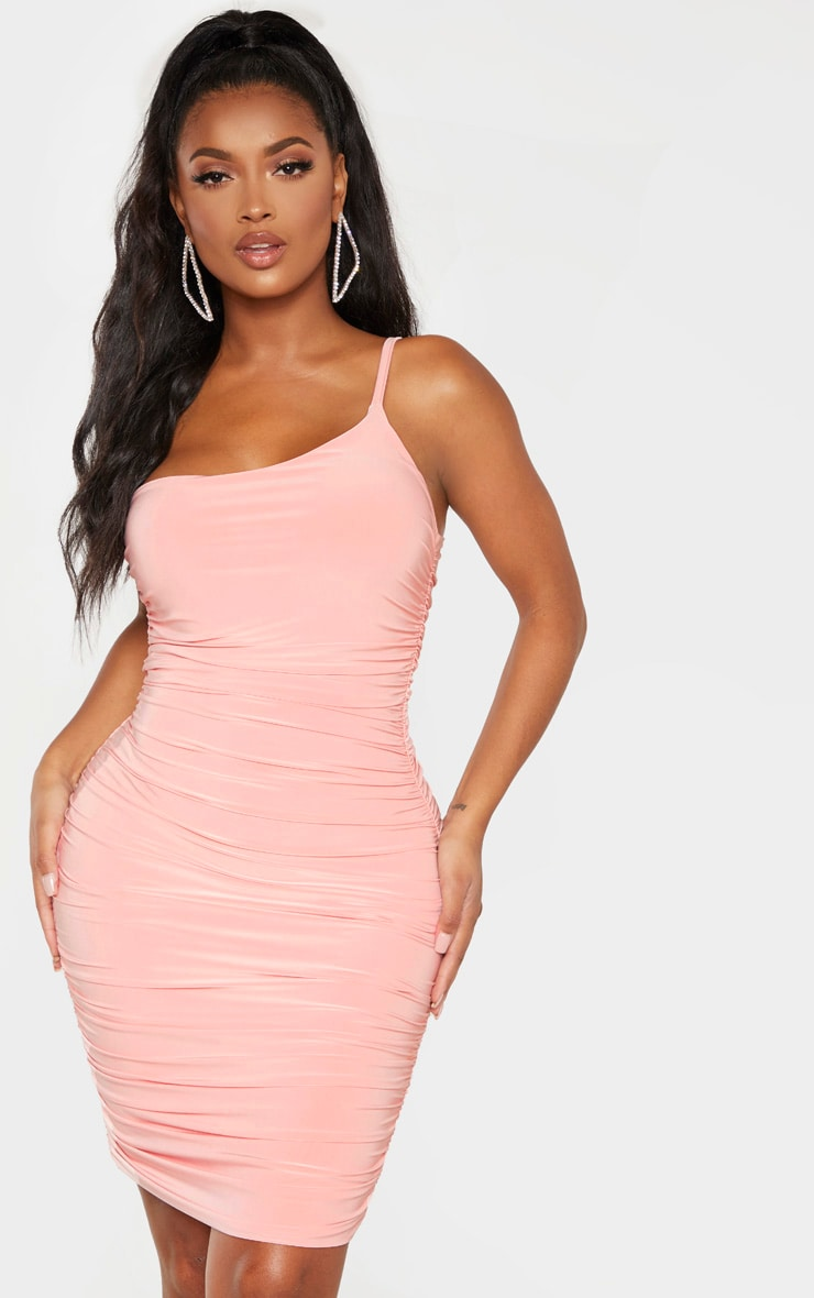 Shape Coral Slinky Ruched Asymmetric Bodycon Dress 4