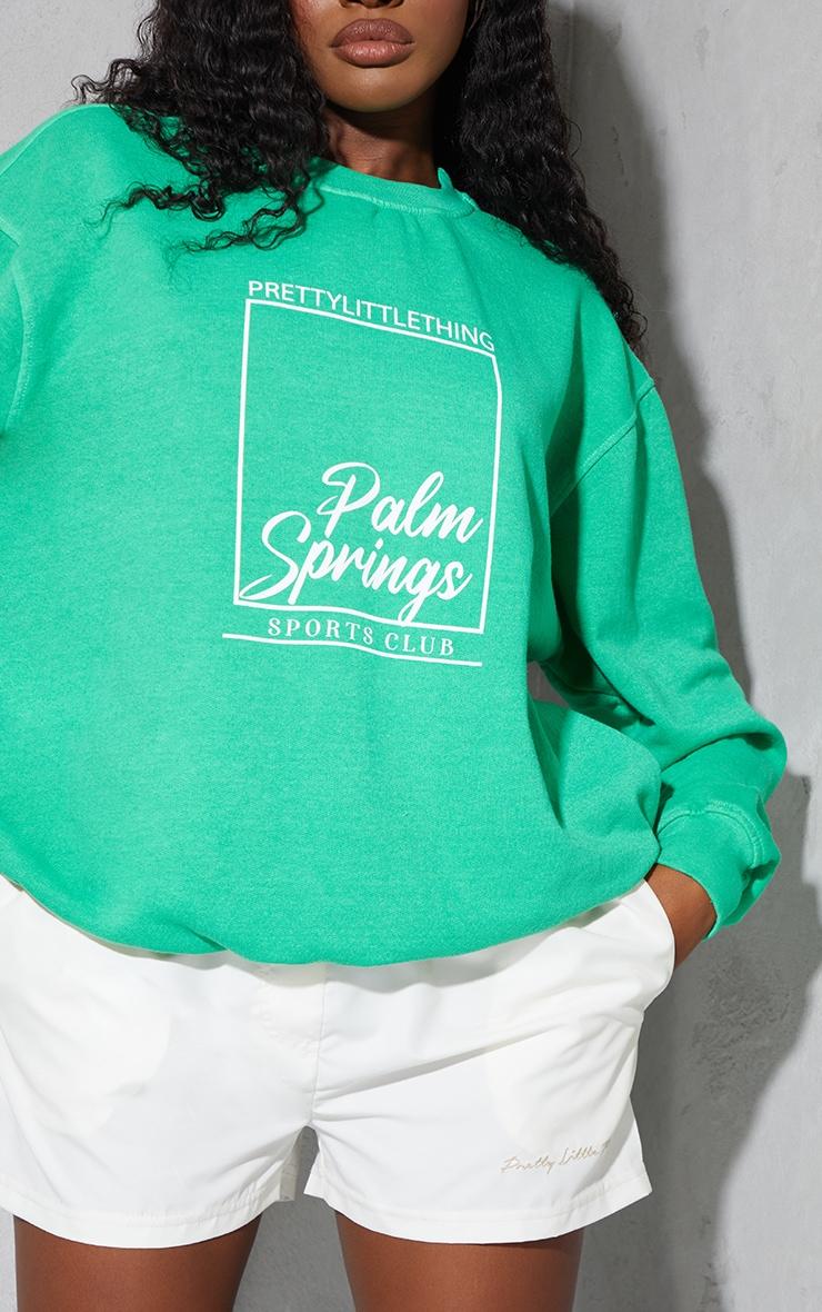 PRETTYLITTLETHING Bright Green Palm Springs Print Sweatshirt 4