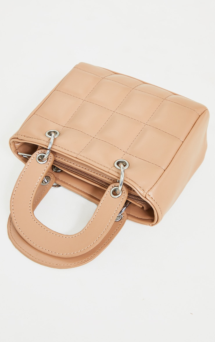 Tan Quilted Mini Handbag 2