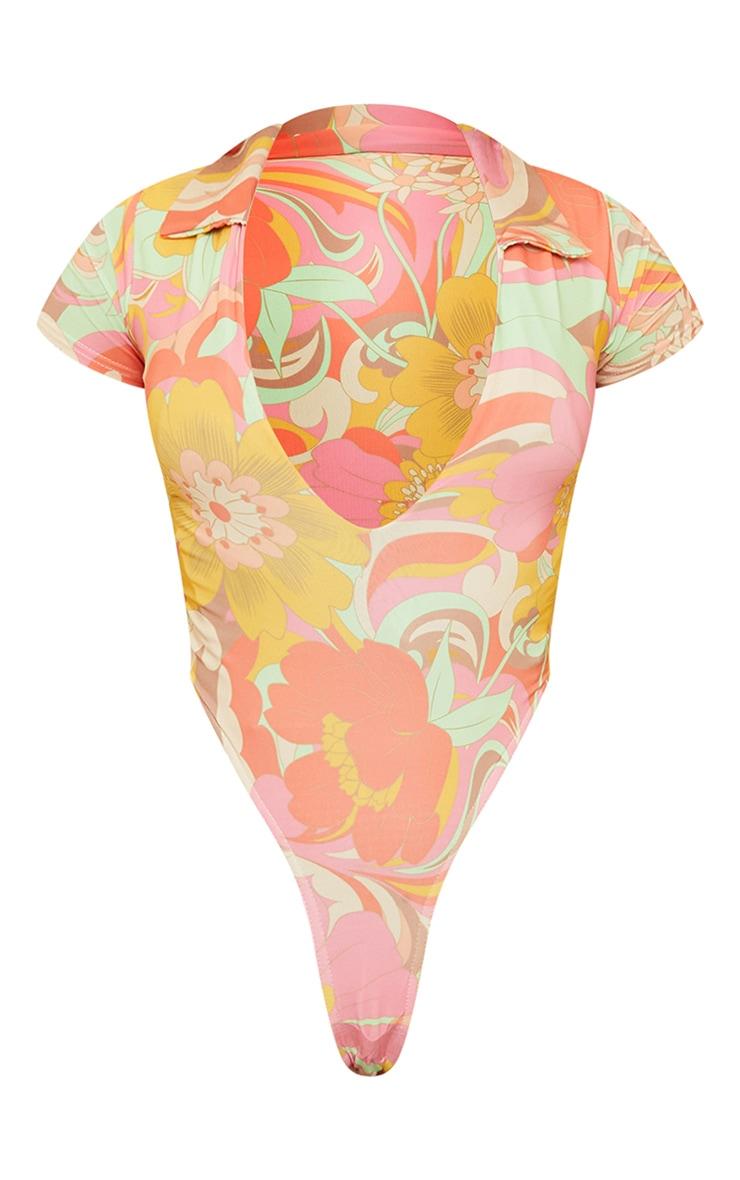 Multi Swirl Print Plunge High Leg Bodysuit 6
