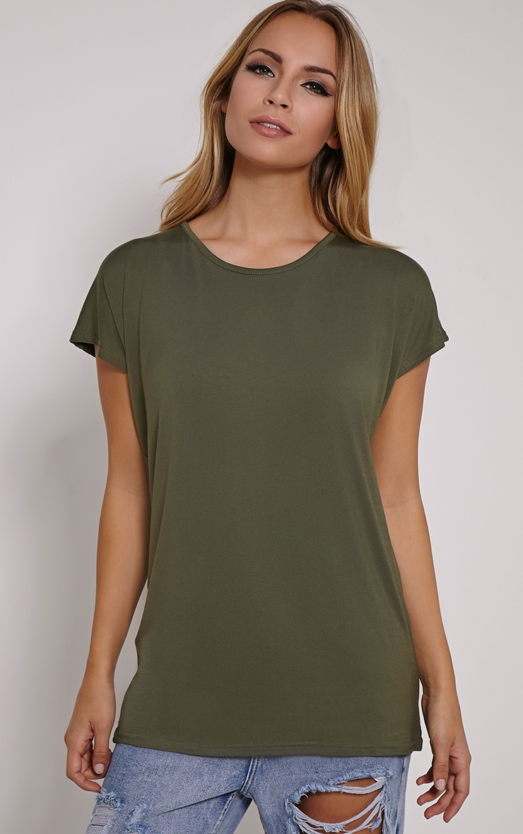 Basic Khaki Oversized Round Neck T-Shirt 1