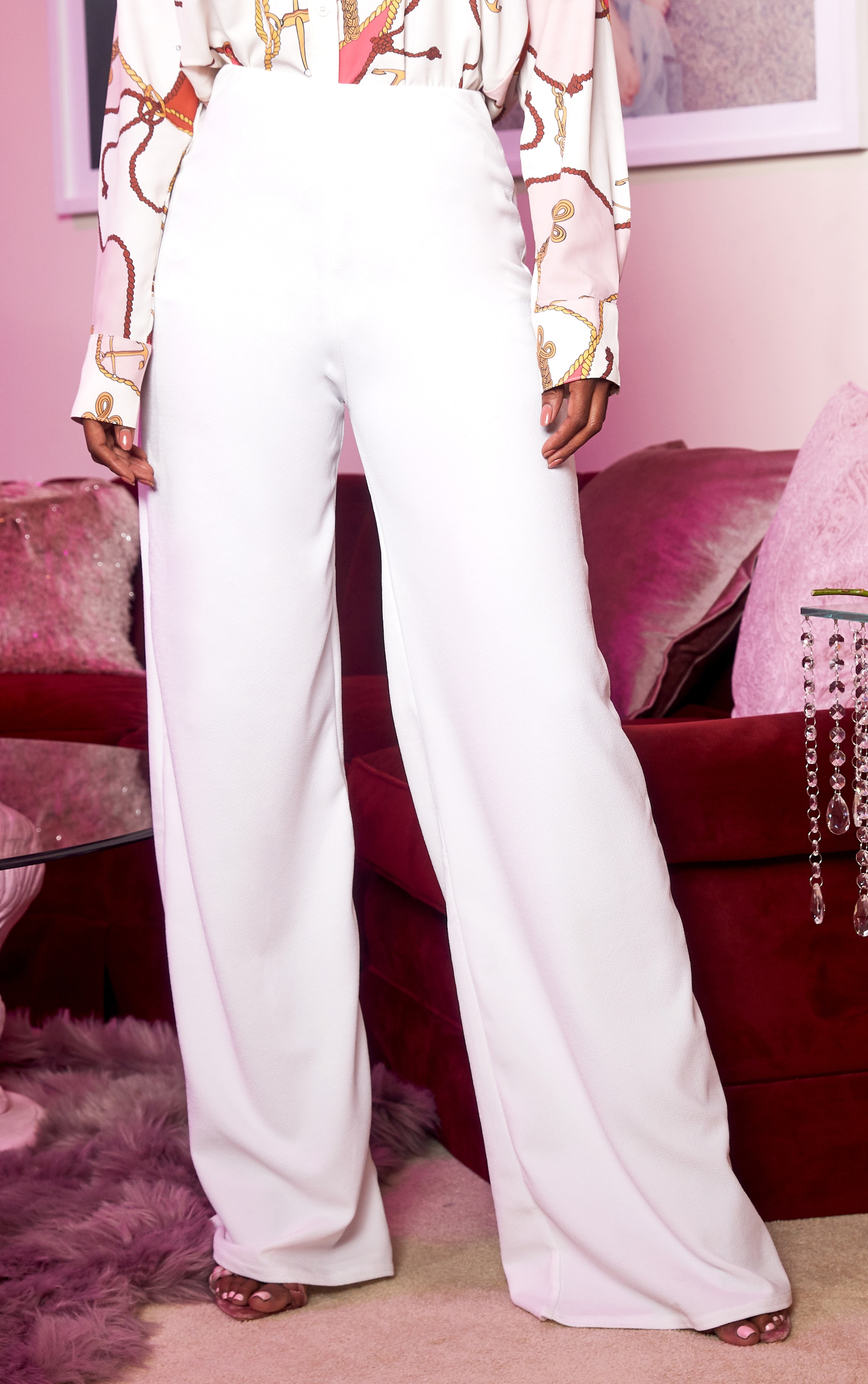 White High Waisted Wide Leg Trousers 2